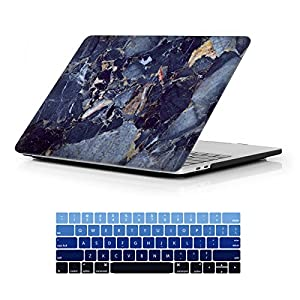 MacBook Pro 13 Case 2017 & 2016 Release A1706/A1708, iCasso Hard Case Shell Cover and Keyboard Skin Cover for Apple Newest Macbook Pro 13 Inch Retina with/without Touch Bar and Touch ID - Blue Marble