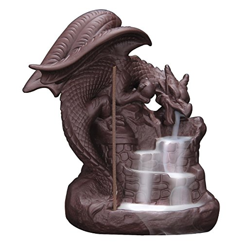 (OTOFY Handmade Ceramic Incense Holder, Backflow Incense Burner Figurine Incense Cone Holders Home Decor Gift Decorations Statue Ornaments (Fly Dragon) )