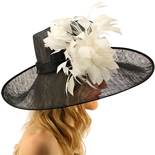 Glorious Side Flip Sinamy Floral Feathers Derby Floppy Dress Wide Brim Hat