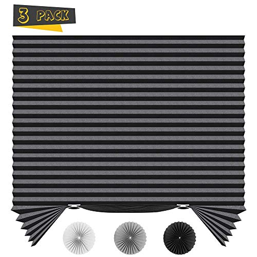 SEEYE Temporary Blinds Cordless Shades Fabric Pleated Fabric Shade Easy to Cut and Install, 48″x72″ – 3Pack, Black,with 6 Clips
