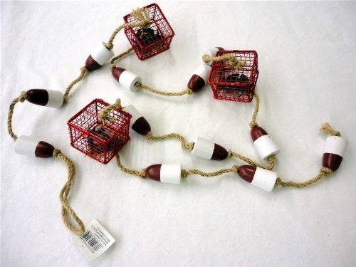 Crab-Trap-with-Blue-Crab-and-Buoy-Garland-6-Feet-Long-3-Crab-Traps-and-12-Wood-Buoys-on-Jute-Rope