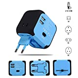 Maxracy International Travel Power Adapter with 2.4A Dual USB Charger and Built-in Spare Fuse Universal AC Wall Outlet Plugs All-in-One for UK, US, AU, Europe & Asia (Blue)