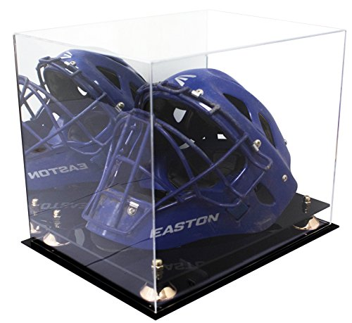 Deluxe Acrylic Catchers Helmet Display Case with Gold Risers and Mirror (A002-GR)