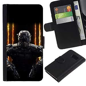 LECELL--Cuero de la tarjeta la carpeta del tirón Smartphone Slots Protección Holder For Samsung Galaxy S6 -- FUTURO DE JUEGOS SOLDADO PC --