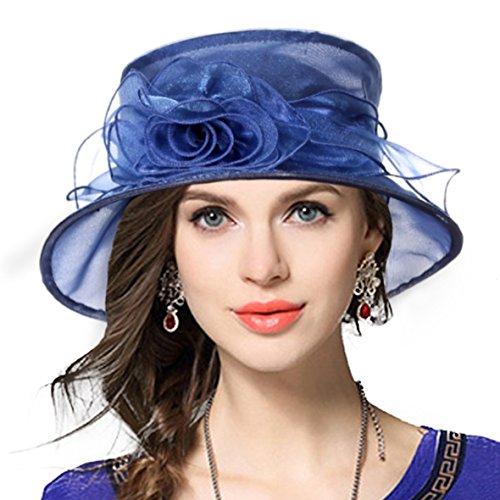 VECRY Lady Derby Dress Church Cloche Hat Bow Bucket Wedding Bowler Hats (Floral-Navy, Medium)]()