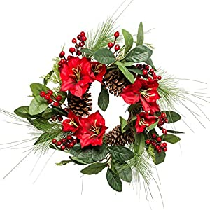 Lighted Amaryllis Christmas Wreath 18 Inches Holiday Winter Greenery Pinecones and Red Berries 71