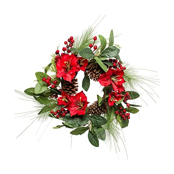 Lighted Amaryllis Christmas Wreath 18 Inches Holiday Winter Greenery Pinecones and Red Berries