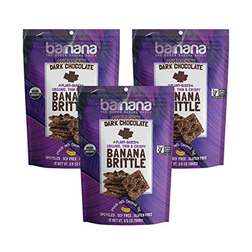 Barnana Organic Crunchy Banana Brittle - Double Chunk Dark Chocolate, 3.5 Ounce (3 Count) - Healthy Vegan Cookie Style Dessert Snack - Made with Sustainable, Eco Friendly Upcycled Bananas (Peanut Brittle With Chocolate)