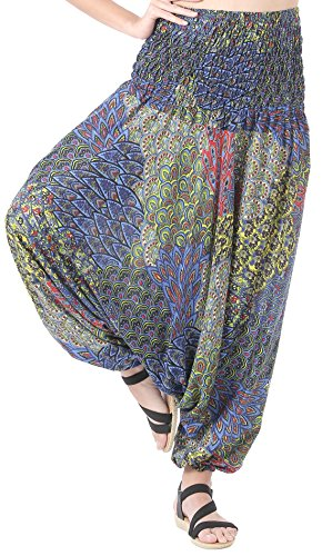 CandyHusky Women Gypsy Hippie Boho Baggy Loose fit Elastic Jumpsuit Harem Pants (Peacock Tail Blue) by CandyHusky (Image #4)