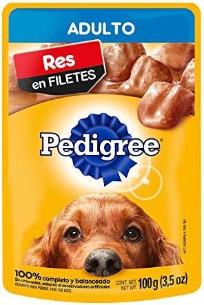 PEDIGREE alimento húmedo para perros adultos. Sabor: Res en Filetes. Contiene 10 sobres 2