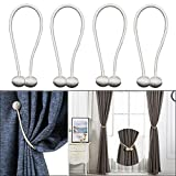 ENETY 4 pcs European Style Window Curtains Tieback Magnet Curtains Buckle Magnetic Curtain Holder Curtain Strap Accessories Drapes Weave Holdbacks (2 pair) (White)