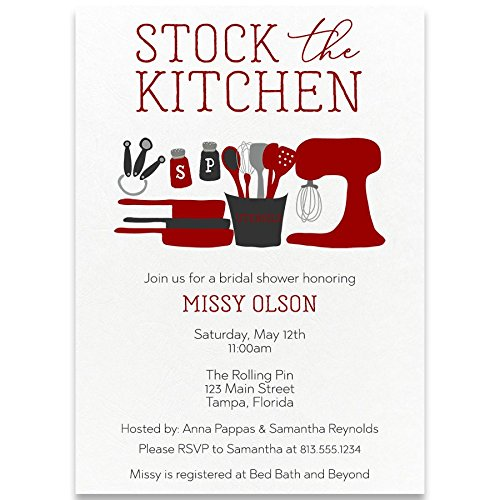 Kitchen Bridal Shower Invitations - Bridal Shower Invitations, Stock The Kitchen, Red, Grey, Gray, White, Salt, Pepper, Utensils, Mixer, Measuring Spoon Set, Pots, Set of 10 Custom Printed Invites with Envelopes