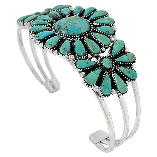 Southwest Style Genuine Turquoise 925 Sterling Silver Cluster Bracelet