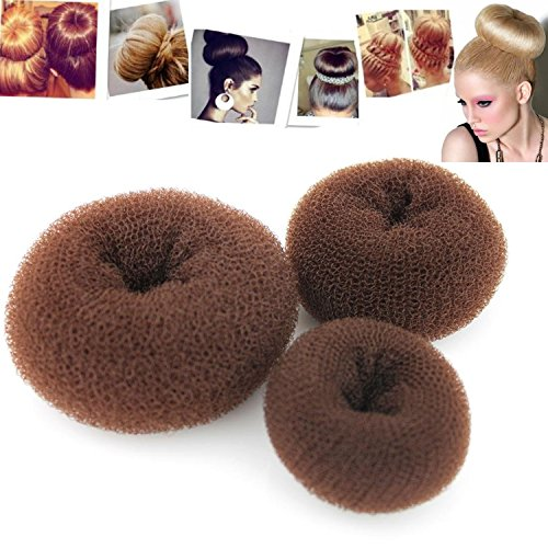 Kangkang@ 3PCS Fashion Classy Brown Round Hairdressing Tool Hair Former Donut Doughnut bundles Ring Styling Mesh Chignon Bun Maker (Fancy Thread Earrings)