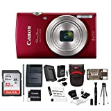 Canon PowerShot ELPH 180 20 MP Digital Camera (Red) + 32GB Card + Battery and Charger + Accessory Bundle