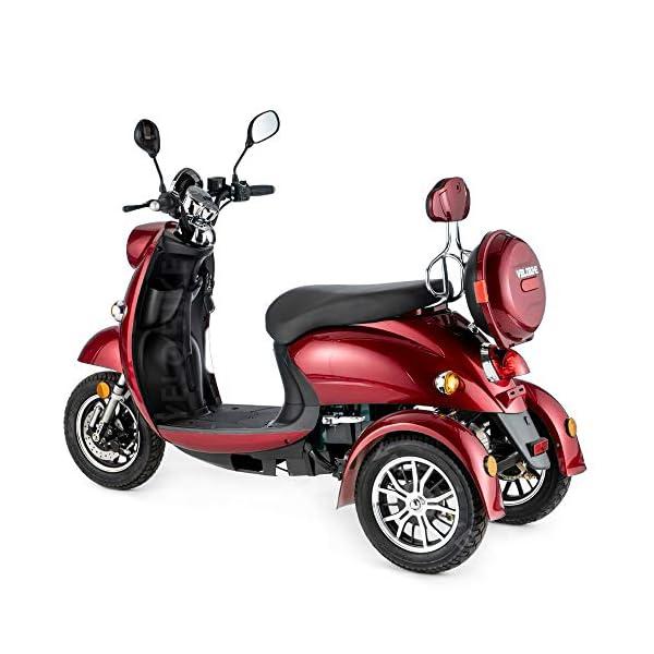 VELECO ZT63 Scooter elettrico 3 ruote per anziani e disabili Seniors Allarme 650W ROSSO 6 spesavip