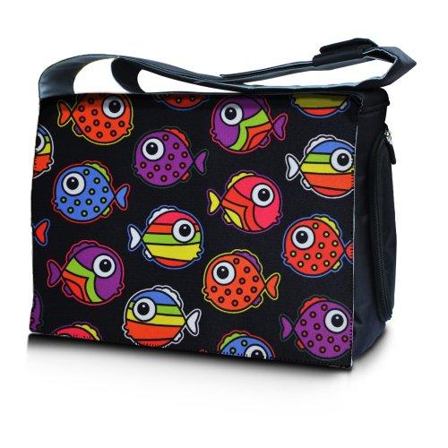 Luxburg® Design bolso bandolera de mensajero, de escuela bolso para portátil ordenadores Laptop Notebook 17,3 pulgadas, motivo: Erizo multicolor Peces de colores