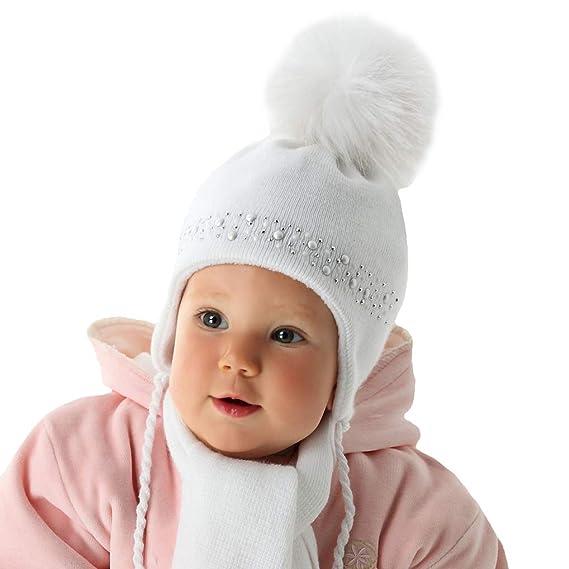 2a860c4a03 AJS Mädchen Baby Winterset Set Mütze Wintermütze Bommelmütze Schal Taufe  mit Wolle gefüttert ab 1 Monat bis 3 Monate Farbe Rosa: Amazon.de:  Bekleidung