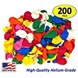 "Pack of 200, Assorted Bright Color 5"" Decorator Latex Balloons, MADE IN USA!"