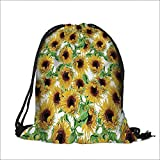 Travel Drawstring Closure Bag Collection Dried Sunflowers Illustration Wildflowers Branch Herbarium Artistic Design Fine Art Gift Bag Pouches 15''W x 18.5''H