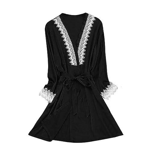4fd793da7fda Malbaba Sexy Lingerie Women Silk Lace Robe Long Sleeve Stain Bathrobe  Sleepwear Pajamas Black