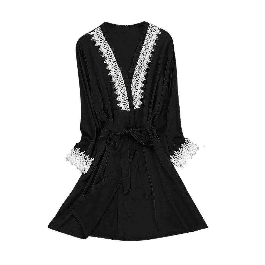 Hot New Sexy Lingerie Women Silk Lace Robe Long Sleeve Stain Bathrobe Sleepwear Pajamas Black