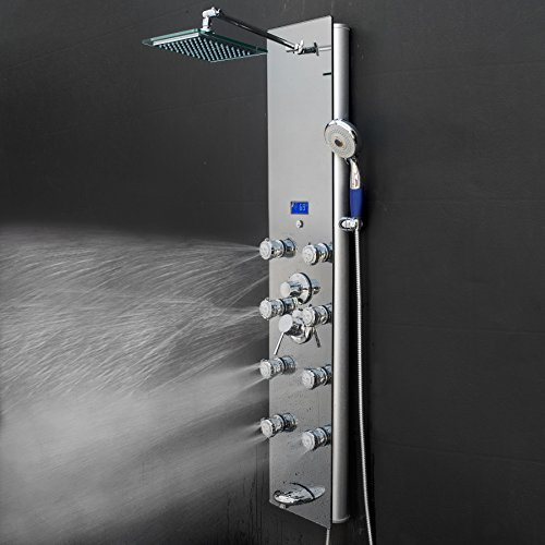 "AKDY 52"" Tempered Glass Aluminum Silver Bathroom System Shower Panel Rainfall Style Massage Jets"