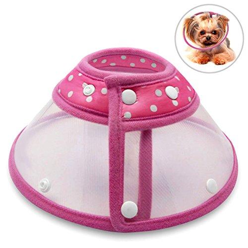 Hundehalsbänder Halskrausen Kegel, PETBABA Gepolstert Elisabethanisch Hunde Halsband für Welpen Kätzchen Rosa S