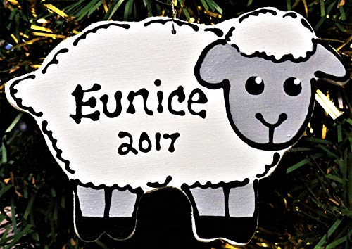 Delia32Agnes Lamb Ornament Sheep Personalizedd Christmas Holiday Name Kids Handcrafted Handpainted Wood Wood Wooden Door Hanger ()