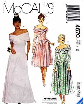 59acef2a45cb Image Unavailable. Image not available for. Colour  McCall s 4670 Sewing  Pattern Misses Off Shoulder Gown Dress Size 12 Bust 34