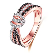 Women Rings AAA Cubic Zirconia Rhodium Rose Gold Black Plated Rings Vintage Unique Jewelry Size 6