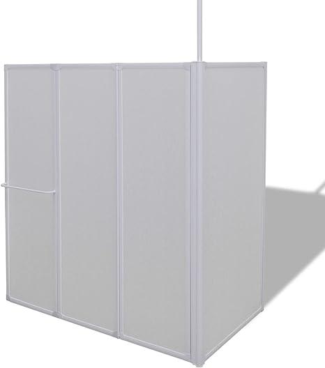 mewmewcat Mampara de Ducha con 4 Paneles Plegables y Toallero 70 x 120 x 140 cm Blanco: Amazon.es: Deportes y aire libre