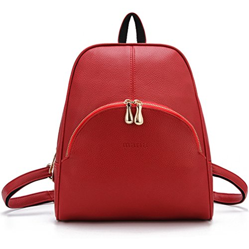 ELOMBR Women's Backpack Purse Pu Leather Ladies Casual Shoulder Bag School Bag for Girls (Red2)