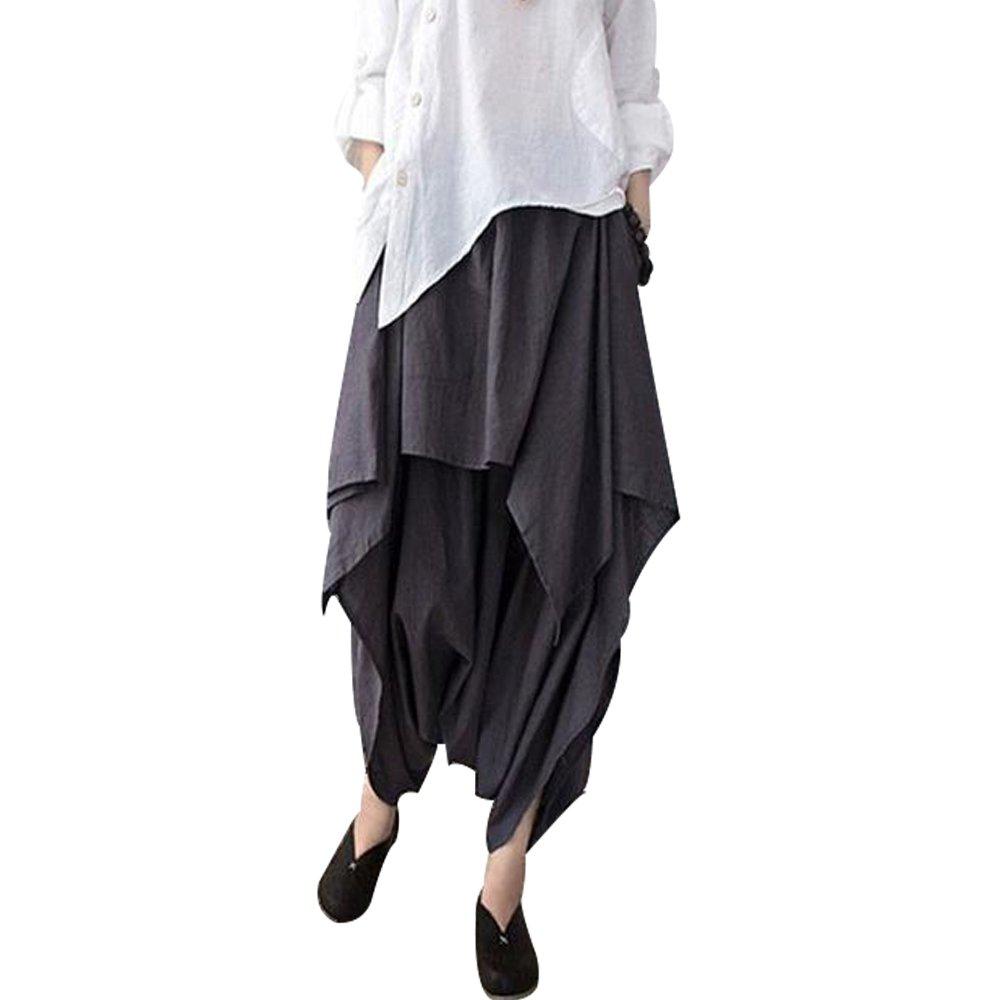 BUYKUD Women Cotton Linen Wide Leg Pants-One Size