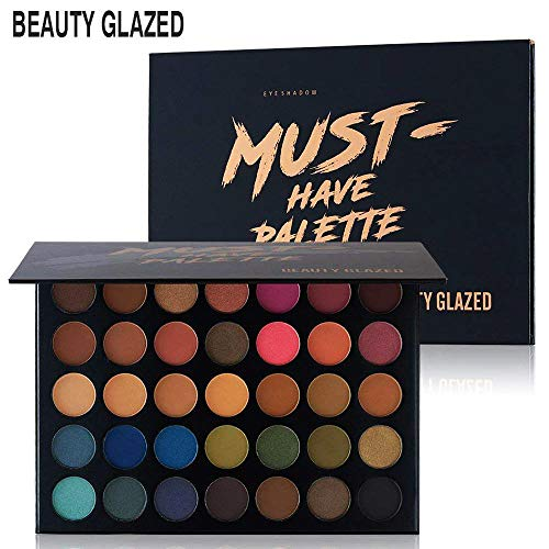 Beauty Glazed Make Up Eyeshadow Palette 35 Colors Blendable Chunky Pigmented Matte and Shimmer Pop Colors Eye Shadow Powder Waterproof Eye Shadow Palette Cosmetics