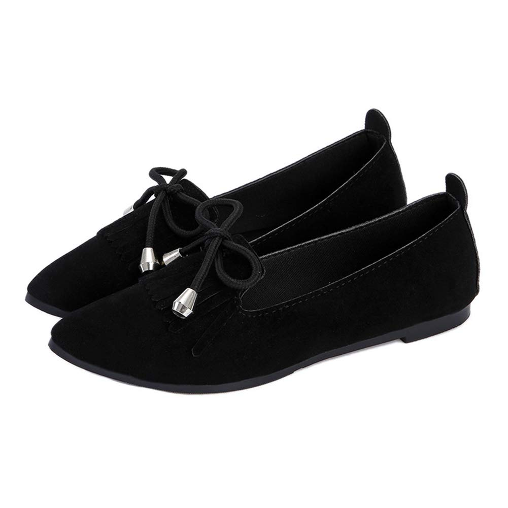 Women's Fashion Tassel Pointed Toe Ballet Flats Casual Slip-on Loafers, Girl's Walking Shoes