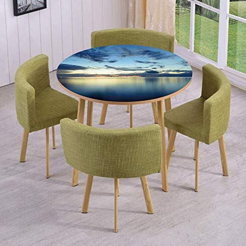 iPrint Round Table/Wall/Floor Decal Strikers/Removable/Long Photo of Dramatic Dusk Sunset Over Calm Peace Tropic Azure Lagoon Ocean/for Living Room/Kitchens/Office Decoration