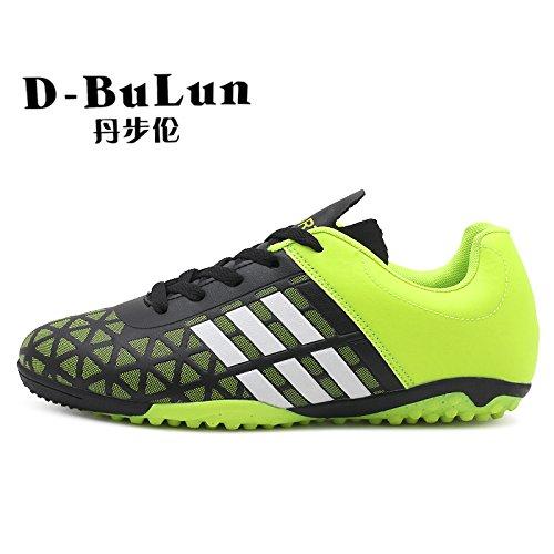 XING Lin Fußball Schuhe Broken Nägel Fußball Schuhe Studenten rutschfest Jungen und Mädchen Leder Fuß Kunstrasen Kinder Youth schuhe grün