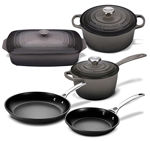 Le Creuset 8 Piece Multi-Purpose Enameled Cast Iron, Stoneware, and Toughened Non Stick Complete Cookware Set (Oyster)