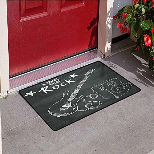 Jinguizi Guitar Universal Door mat Love The Rock Music Themed Sketch Art Sound Box and Text on Chalkboard Door mat Floor Decoration W47.2 x L60 Inch Charcoal Grey White
