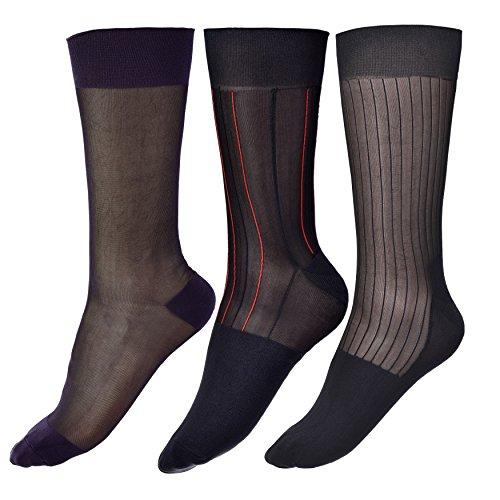 (Mens Thin Socks Silk Sheer Trouser Sox Mid-Calf Over the Calf Cool For Summer 3 Packs)