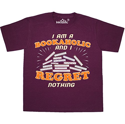 inktastic Funny Book Addict Youth T-Shirt Youth Medium (10-12) Maroon 2fca2