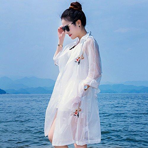 QFFL fangshaifu 夏のルーズホワイトロングセクションサンプロテクションウェア/女性野生の刺繍サンプロテクションウェア/ファッション自己栽培シンコート (サイズ さいず : XXXL)