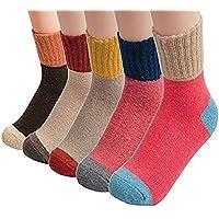 Invierno Calcetines de lana (Pack de 5), estilo clásico Crew–Calcetines para mujer contraste Color