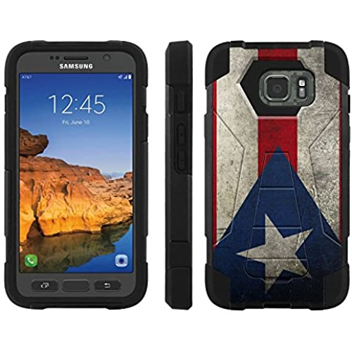 AT&T [Galaxy S7 Active] ShockProof Case [ArmorXtreme] [Black/Black] Hybrid Defender [Kickstand] - [Puerto Rico Flag] for Samsung Galaxy [S7 Active] Sales
