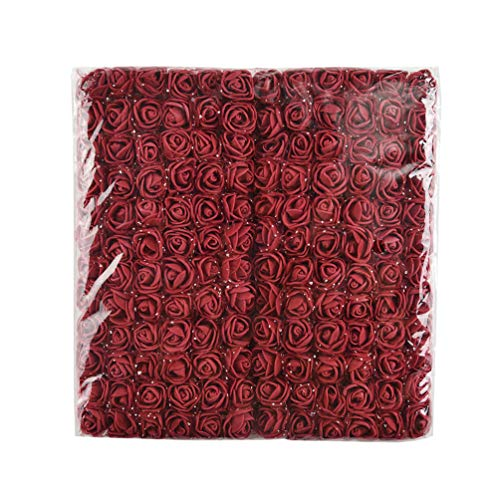 Mini Foam Rose 144pcs 2cm Artificial Flowers Bouquet in Bulk Wholesale for Crafts Multicolor Roses Party Birthday Home Decor Wedding Flower Decoration Scrapbooking Fake Rose Flower (Burgundy)