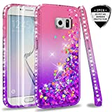 LeYi Case for Galaxy S6 Edge with 3D PET Screen Protector [2 pack], Glitter Liquid Flow Luxury Clear Transparent Diamond Personalised TPU Silicone Shockproof Cover for Samsung S6 Edge G925 Pink Purple