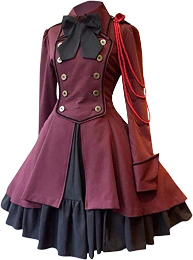 CLOOM Vestidos Medievales Mujer GóTico Renacimiento Vestido Falda ...