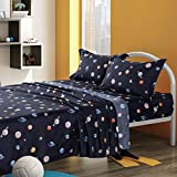 KFZ Queen Sheets Set -Navy Blue, Solar System Planets Printed 4 Pieces Bedding with 1 Fitted Sheet, 1 Flat Sheet, 2 Pillowcases - Soft Egyptian Quality Brushed Microfiber Bed Set for Boys and Girls