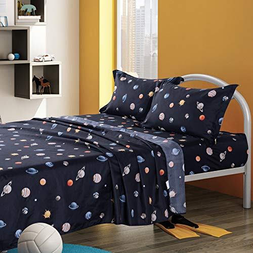 KFZ Twin Bed Sheets Set for Boys and Girls -Navy Blue, Solar System Planets Printed 3 Pieces Bedding with 1 Fitted Sheet, 1 Flat Sheet, 1 Pillowcase -Soft Egyptian Quality Brushed Microfiber Bed Set